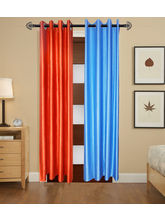 Angiela Home Fab Solid Crush Quality Multicolor Long Door Curtain-2 Piece (Angiela0124-9 Feet)
