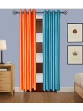 Angiela Home Fab Solid Crush Quality Multicolor Door Curtains-2 Piece (Angiela0027-7 Feet)