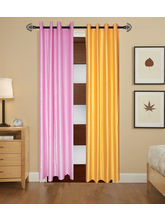 Angiela Home Fab Solid Crush Quality Multicolor Door Curtains-2 Piece (Angiela0113-7 Feet)