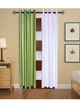 Angiela Home Fab Solid Crush Quality Multicolor Long Door Curtain-2 Piece (Angiela0102-9 Feet)