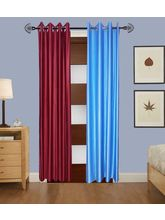 Angiela Home Fab Solid Crush Quality Multicolor Door Curtains-2 Piece (Angiela0046-7 Feet)