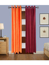 Angiela Home Fab Solid Crush Quality Multicolor Door Curtains-2 Piece (Angiela0018-7 Feet)