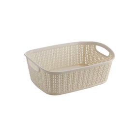 Cresta Knit Rectangular Basket, 3 ltr,  cream