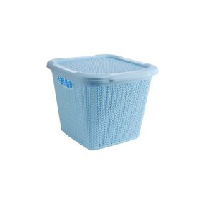 Cresta Knit Square Basket With Lid,  blue, 15 ltr