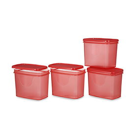 Sleek Container Set, Set Of 4, Red,  red
