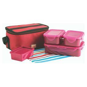 Food Gear Lunch Box With Insulated Carry Bag 4-Pieces Set, 150 ml - 300 ml - 300 ml - 800 ml,  pink