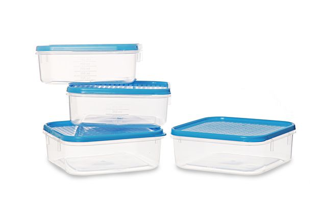 Polka Container Set, Set Of 4,  blue