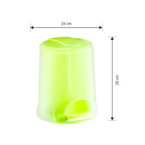 Transparent Pedal Bin, 5000 ml,  green