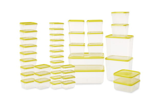 Polka Plastic Container Set, 42-Pieces, Yellow,  red