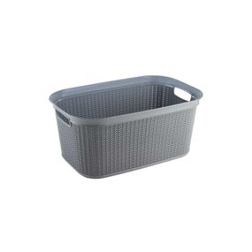 Cresta Knit Laundry Basket, 38 ltr,  grey