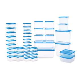 Polka Plastic Container Set, 42-Pieces, Yellow,  blue