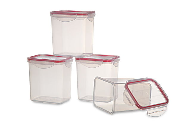 Lock And Safe Container Set Of 4, 1000 Ml,  transparent