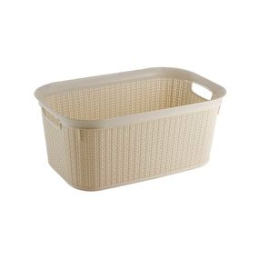 Cresta Knit Rectangular Basket, 27 ltr,  cream