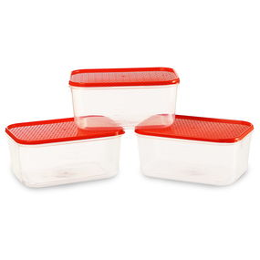 Polka Container Set, Set Of 3, Green,  red