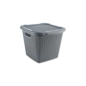 Cresta Knit Square Basket With Lid, 15 ltr,  grey
