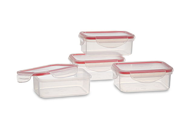 Lock And Safe Container Set Of 4, 350 Ml,  transparent