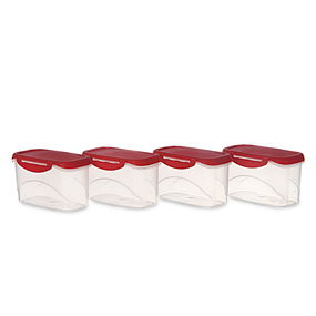 Delite Container Set Of 4, 750 Ml,  red