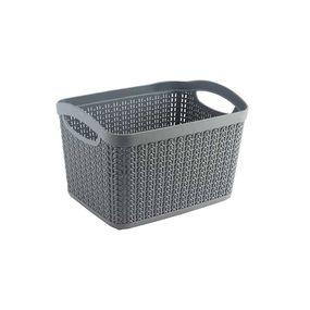 Cresta Knit Rectangular Basket, 6.6 ltr,  grey