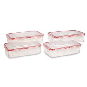 Lock And Safe Container Set Of 4, 800 Ml,  transparent