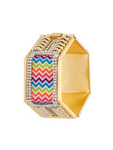 Sapna FX Hexagon Multi Colour Gold Plated Women Kada (1 Psc) - K7014, free size