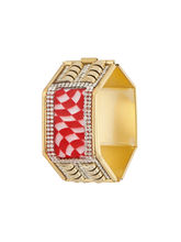 Sapna FX Hexagon Red Gold Plated Women Kada (1 Psc) - K7009, free size