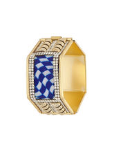 Sapna FX Hexagon Blue Gold Plated Women Kada (1 Psc) - K7010, free size