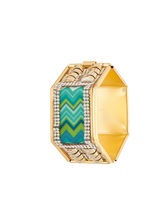 Sapna FX Hexagon Green Gold Plated Women Kada (1 Psc) - K7012, free size