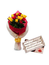 BAF Roses With1Kg Kaju Katli Gift, Free Shipping