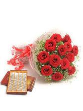 BAF Kaju Katli Sweets N Red Roses Gift, Free Shipp...