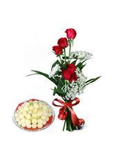BAF Rasgulla Sweets N Red Roses Gift, Free Shippin...