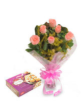 BAF 6 Roses With Sonepapri Gift, Free Shipping