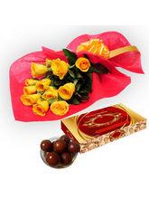BAF Roses With Gulab Jamun Gift, Free Shipping