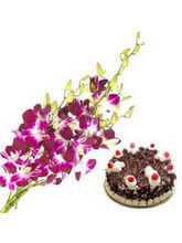 BAF Orchids And Cake 1 Kg Gift, Fixed Time Deliver...
