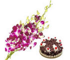 BAF Orchids and cake 500 gms Gift, midnight delivery