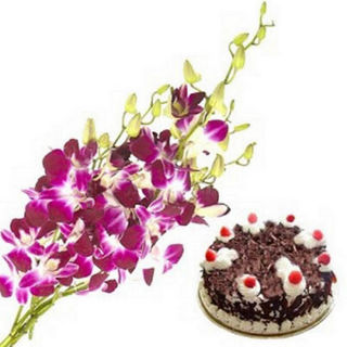 BAF Orchids And Cake 500 Gms Gift, Midnight Delive...