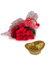 BAF Roses With Dryfruits Gift, Free Shipping