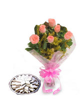 BAF Roses N Kaju Katli Sweets Gift, Free Shipping