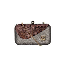 ESBEDA Solid Pattern Glitter box clutch For Women,  brown
