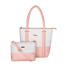 ESBEDA BIG Size Vinyl Combo Handbag with Slingbag For Women-B00100001-2,  pink