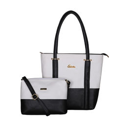 ESBEDA BIG Size Vinyl Combo Handbag with Slingbag For Women-B00100001-2,  black