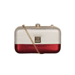 ESBEDA Solid Pattern Glitter box clutch For Women,  silver