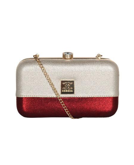 ESBEDA Solid Pattern Glitter box clutch For Women,  silver