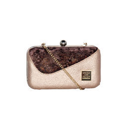 ESBEDA Solid Pattern Glitter box clutch For Women,  pink