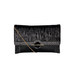 ESBEDA Printed Pattern Lurex Partywear Clutch For Women,  black