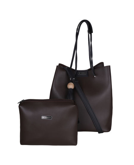 ESBEDA Solid Pattern Vinyl Handbag With Pouch -1005586,  brown