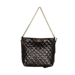 ESBEDA Solid Pattern Diamond Quilted Handbag For Women,  black
