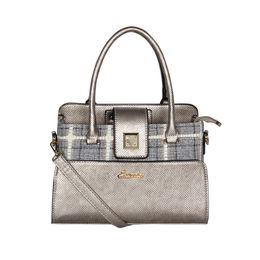 ESBEDA Emboss Pattern Bernina Jute Suede Handbag For Women,  silver
