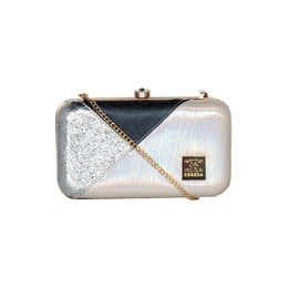 ESBEDA Solid Pattern Glammer box clutch For Women,  silver