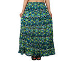 Printed Cotton Crepe Long Tier Skirt, m, green