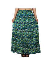 Printed Cotton Crepe Long Tier Skirt, m, green